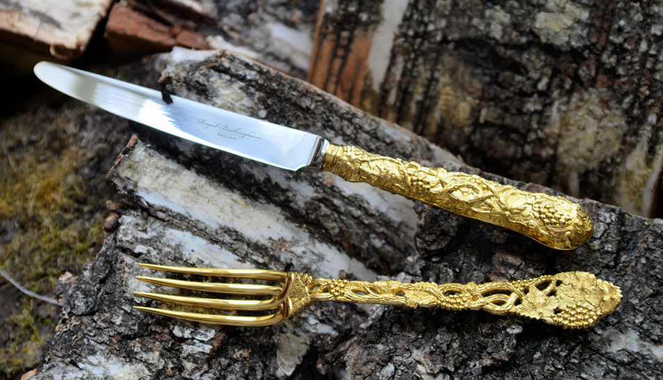 """CHASED & PIERCED VINE"" Hand Forged 925 Sterling Silver Cutlery"